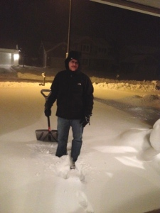 Shoveling in the dark is not the most fun a person can have.